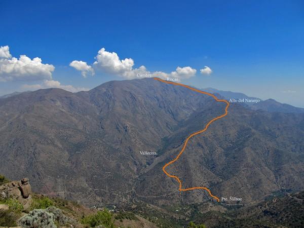 Vista panorámica a ruta normal desde puente Ñilhue a cerro Provincia