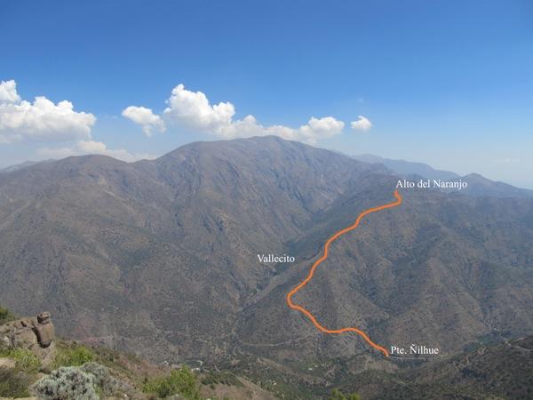 Ruta Pte. Ñilhue a Alto del Naranjo desde cumbre Loma de la Vaca